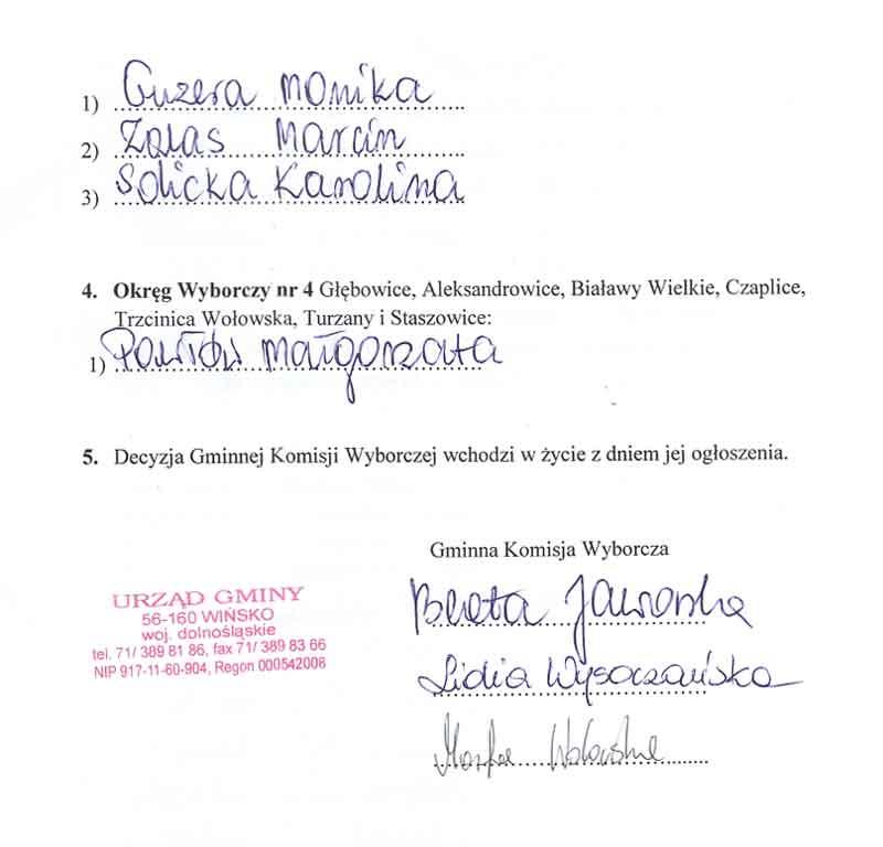 Obwieszczenie Komisji Wyborczej