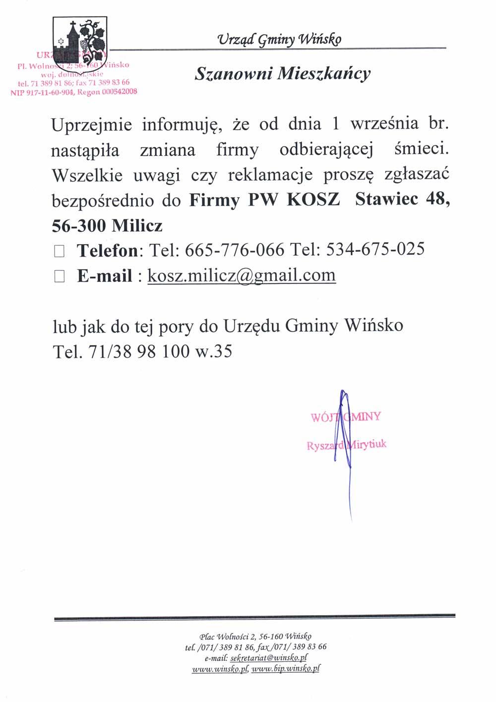 Informacja o zmianie firmy odbierającej odpady w gminie Wińsko