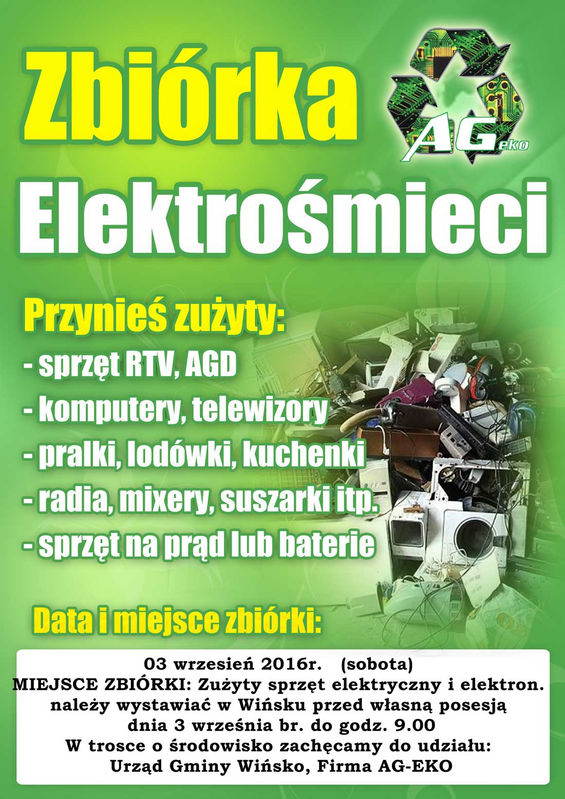 Zbiórka elektrośmieci w Wińsku - wrzesnia
